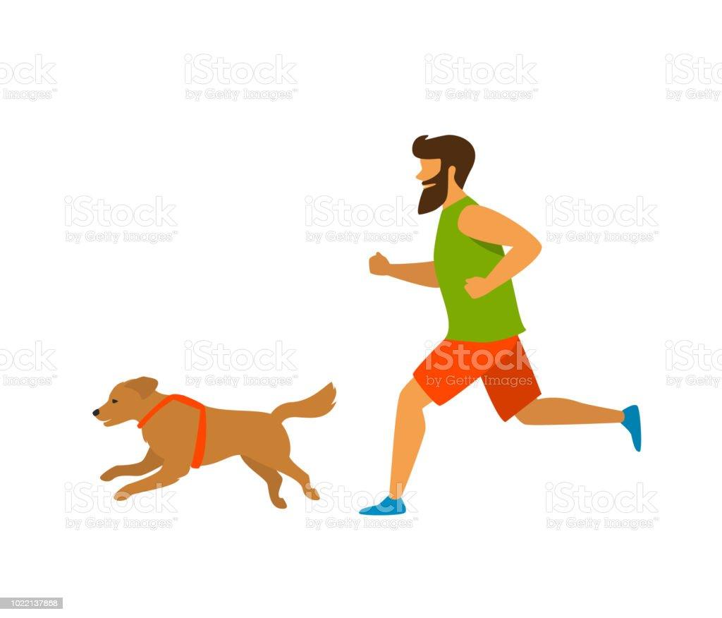 Köpeğini Aktif Yaşam Tarzı Vektör çizim Koşan Adam Stok Vektör
