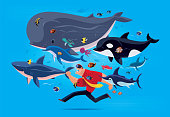 vector illustration of man running with sea creatures via VR goggles