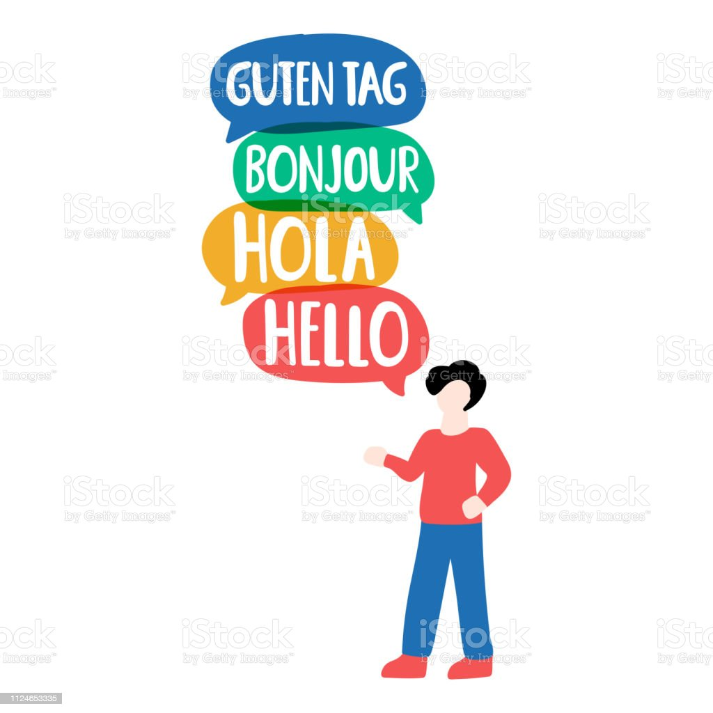 Man say hola, guten tag, bonjour, helloi. Vector business illustration on white background. vector art illustration