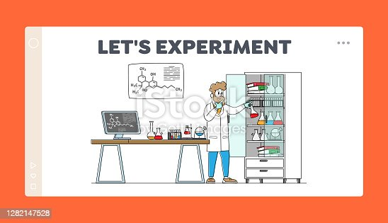 istock Man Scientist Conduct Experiments in Science Laboratory Landing Page Template. Male Character Researcher in Chemical Lab 1282147528