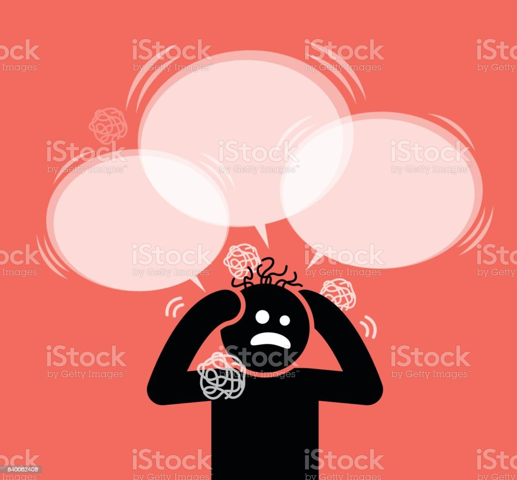 Man scratching his head and hair. vector art illustration