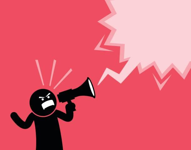 illustrazioni stock, clip art, cartoni animati e icone di tendenza di uomo che urla ad alta voce con un megafono. - furioso