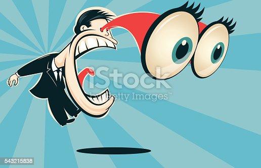 istock Man screaming with bulging eyes 543215838
