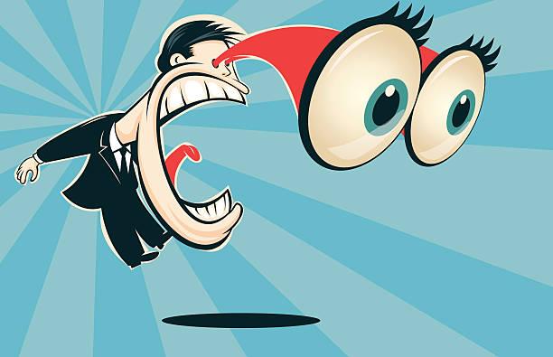 Man screaming with bulging eyes Un cartoon de un hombre sorprendido que salta y grita con ojos saltones. Elaborado en Adobe Illustrator, los objetos y su color pueden ser modificados con facilidad. shock stock illustrations