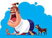 vector illustration of man screaming with dogs