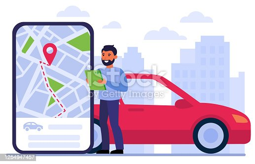 Man searching car for rent, using location app on gadget, studying digital map, ordering taxi online. Vector illustration for car sharing, urban transport, transfer, driving concept