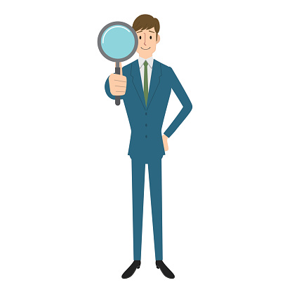 Man searching with magnifying glass