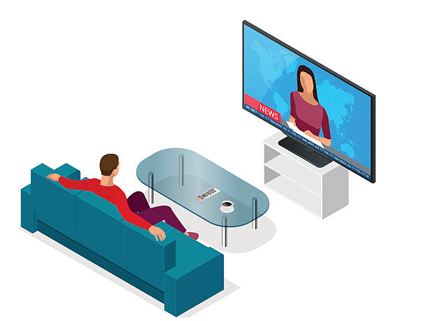 Man seated on the couch watching tv Young man seated on the couch watching tv, changing channels. Flat 3d vector isometric illustration watching tv stock illustrations