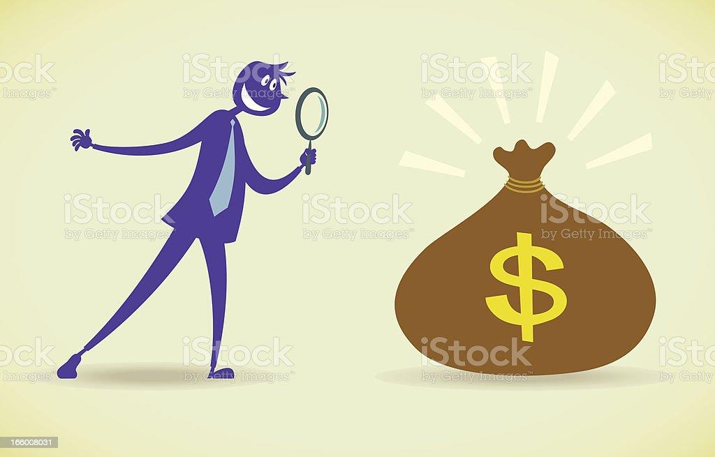 Man seeking BIG money royalty-free stock vector art
