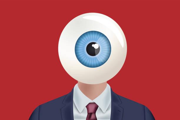 ilustraciones, imágenes clip art, dibujos animados e iconos de stock de un hombre visto desde el frente con un ojo en lugar de la cara. - ojos azules