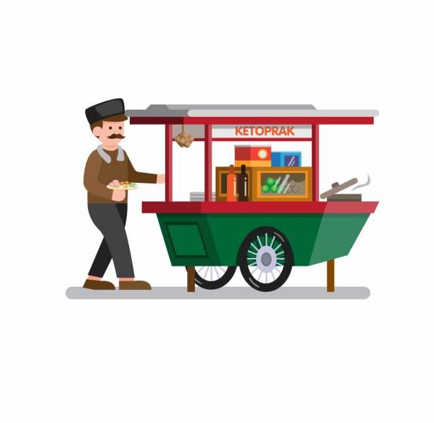 stockillustraties, clipart, cartoons en iconen met mens die indonesisch traditioneel voedsel in voedselkar verkoopt. beeldverhaal vlakke illustratievector die in witte achtergrond wordt geïsoleerd - indonesische cultuur