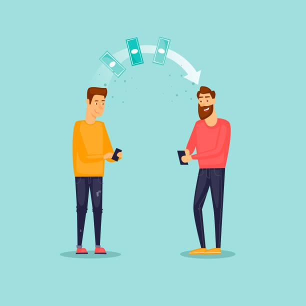 Man sendet Geld Telefon. Technologien. Flaches Design-Vektor-Illustration. – Vektorgrafik