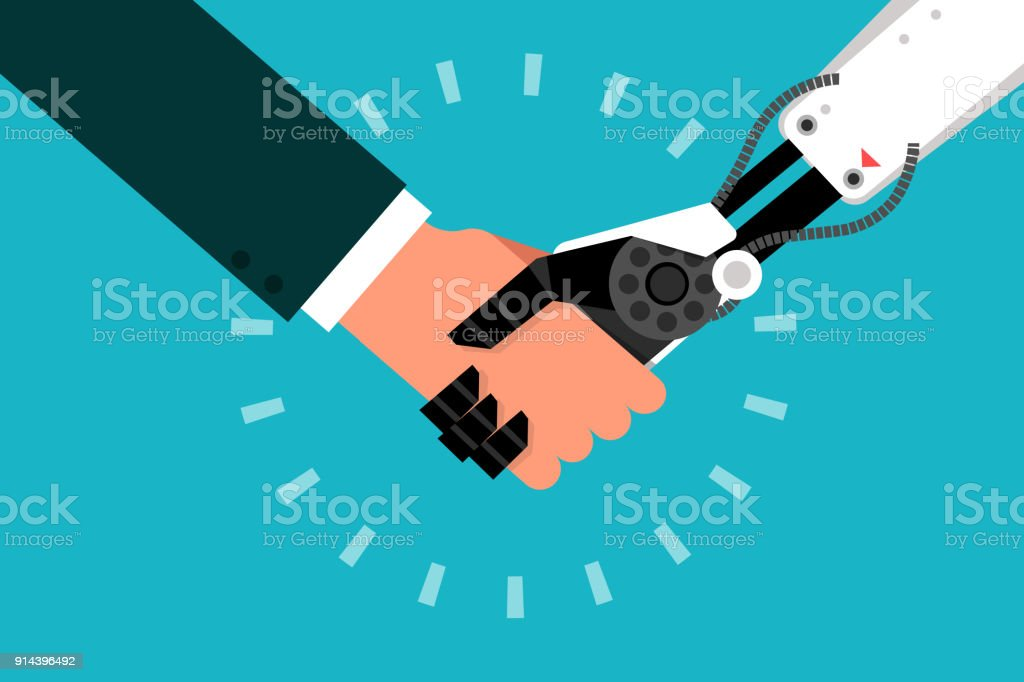 Man shaking hand with robot. Man shaking hand with robot, flat design vector. Adult stock vector