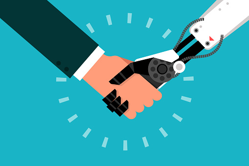 Man Shaking Hand With Robot Stock Illustration - Download Image Now