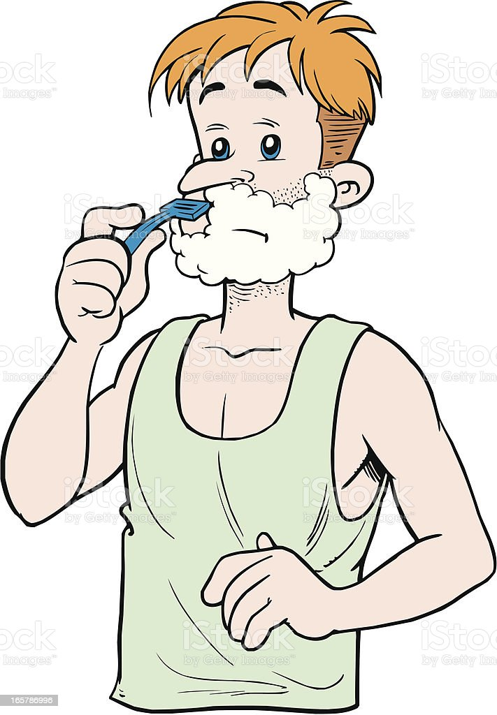 Man shaveing royalty-free stock vector art