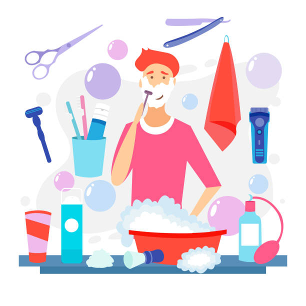 Man Shaving Face with Foam. Skin Care. Vector cartoon illustration. Shaving effect. Man Shaving Face with Foam. Skin Care. Vector cartoon illustration. Man with shaving cream on his face and razor in hand. Young man prepping face for daily shaving. Shaving effect. cutthroat stock illustrations