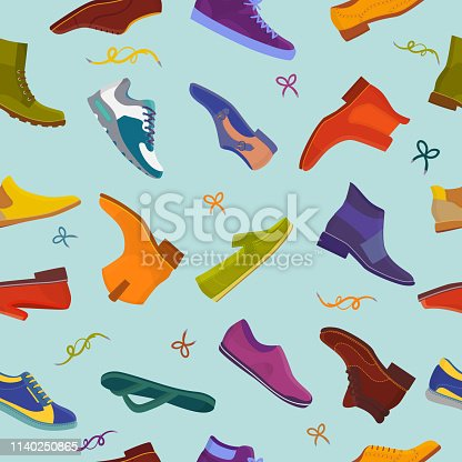 Man shoe vector male boots and classic leather footwear or fashion footgear or bootee for men illustration set of manlike foot-gear shoes with shoelace in shoeshop seamless pattern background.