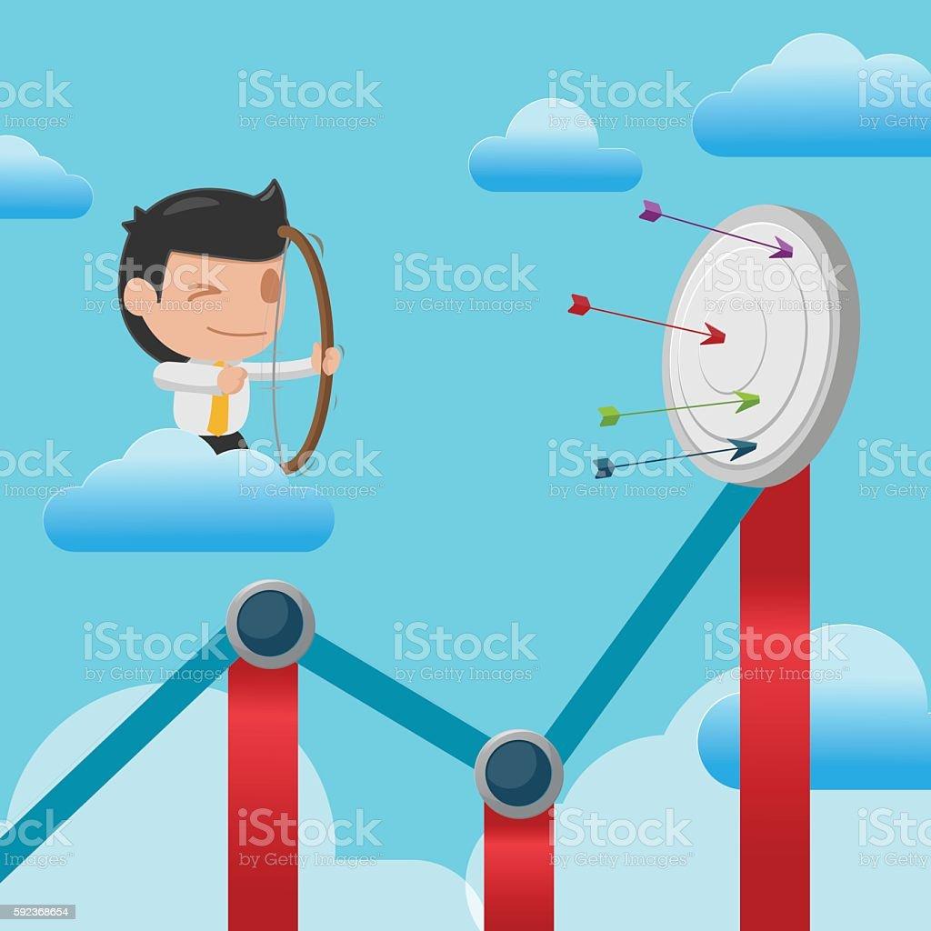 Man Shoot Arrow Graph Target Vector vector art illustration