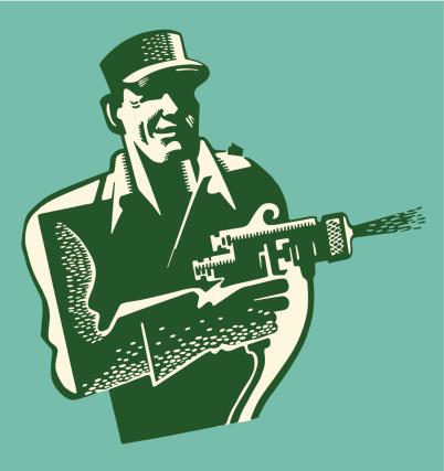 Man Shooting a Paint Gun