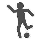Man shooting ball solid icon. Soccer or football player kicked soccer-ball symbol, glyph style pictogram on white background. Sport sign for mobile concept and web design. Vector graphics