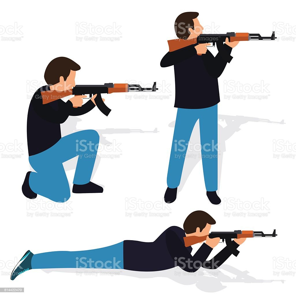 man shooting rifle gun weapon position shot action firearm standing vector art illustration