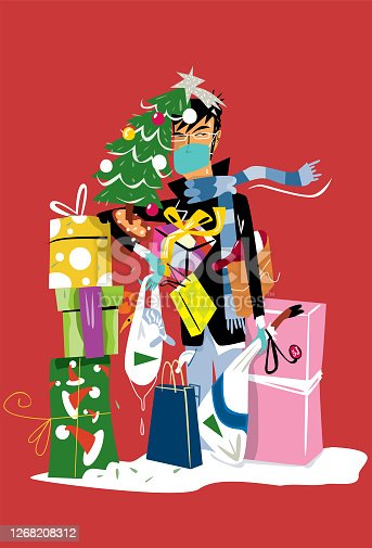 istock Man shopping at Christmas with surgical mask 1268208312