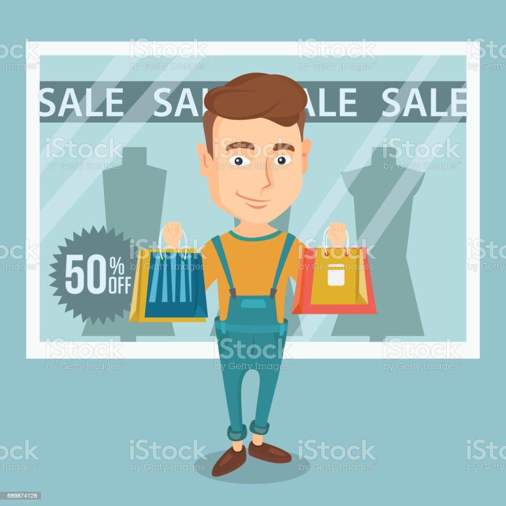 Man shopping on sale vector illustration vector art illustration