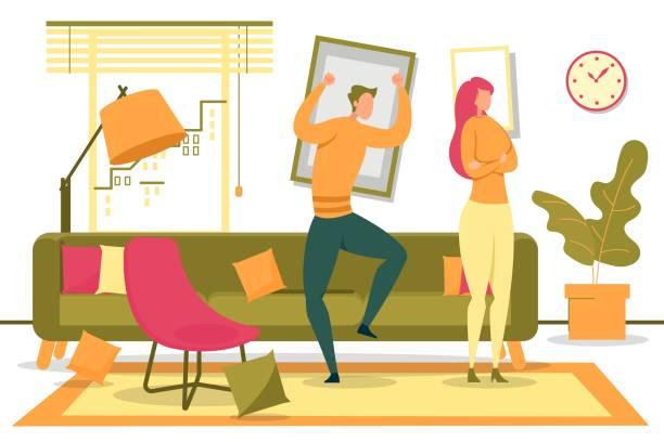 stockillustraties, clipart, cartoons en iconen met man schreeuwen boos vrouw wegdraaien in de woonkamer - couple fighting home