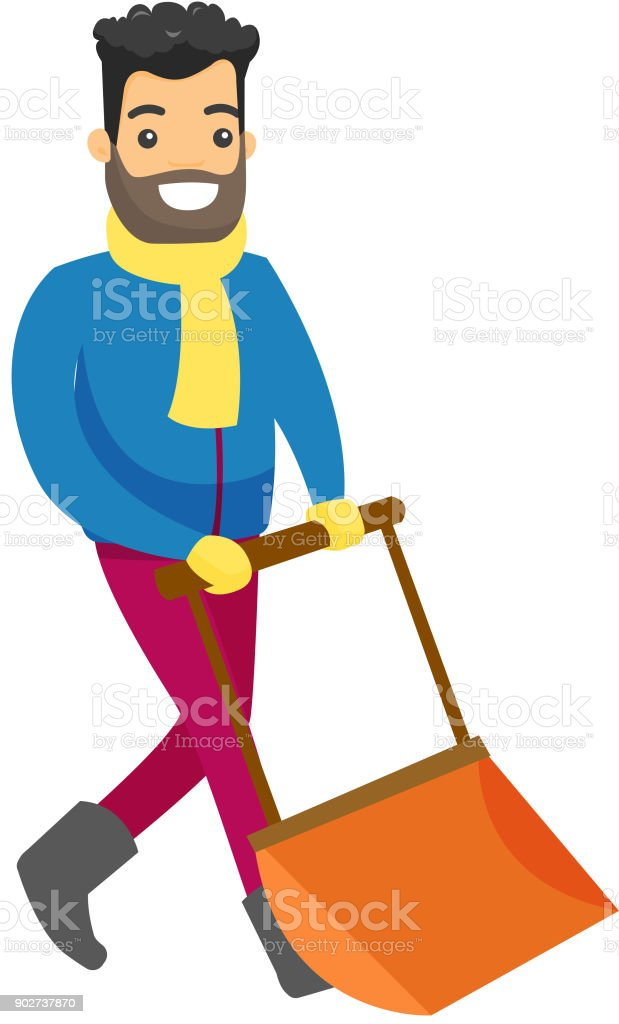 man shoveling snow with a big spade in the winter stock vector art