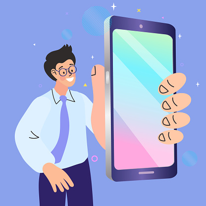 Man showing a mobile app on a smartphone. Cartoon Vector Illustration.