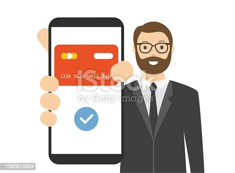 Man showing a mobile payment on smart phone screen. Bank Transaction. Cartoon vector stock illustration
