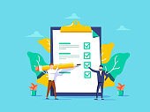 Man showing checklist. Boy filling tasks to checklist. For web site, app banner, ux and ui. Concept for ad, poster placard and web template and landing page. Creative vector illustration