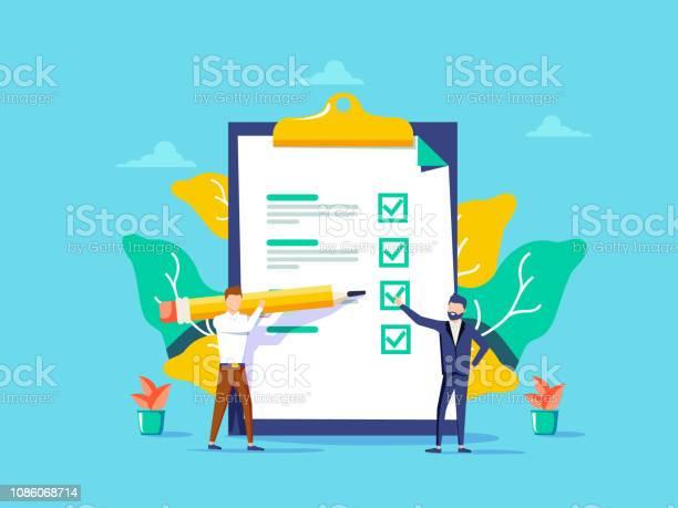 Man Weergegeven Controlelijst Jongen Vullen Taken Controlelijst Voor De Website App Banner Ux En Ui Concept Voor De Adverteerder Stockvectorkunst en meer beelden van Advertentie
