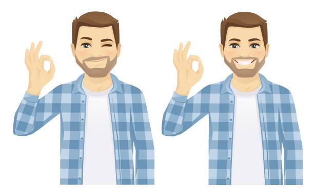 illustrazioni stock, clip art, cartoni animati e icone di tendenza di man showing ok vector - uomini giovani