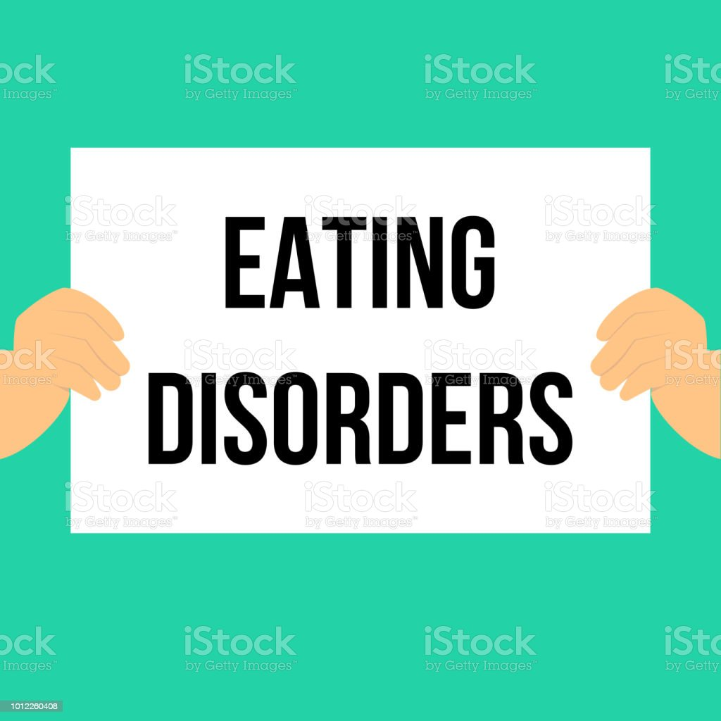 Man showing paper EATING DISORDERS text vector art illustration