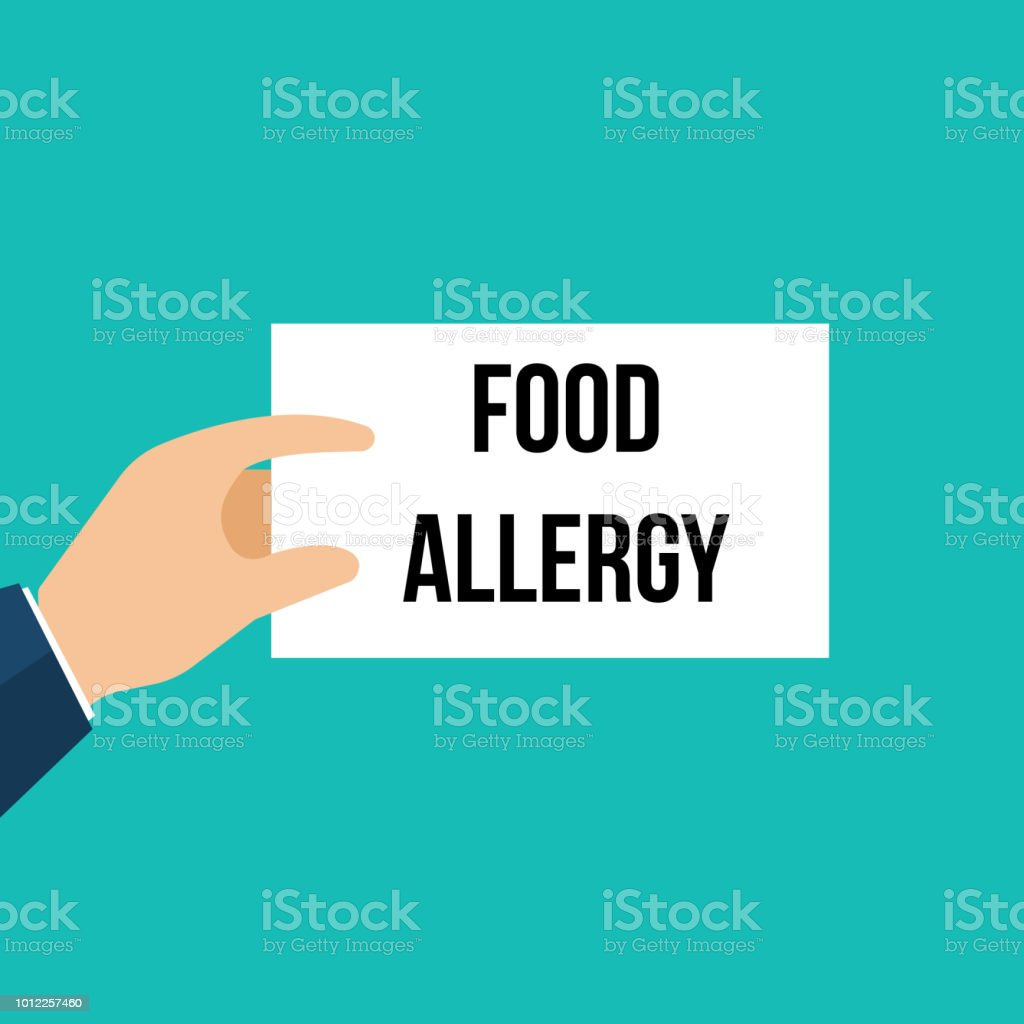 Man showing paper FOOD ALLERGY text vector art illustration