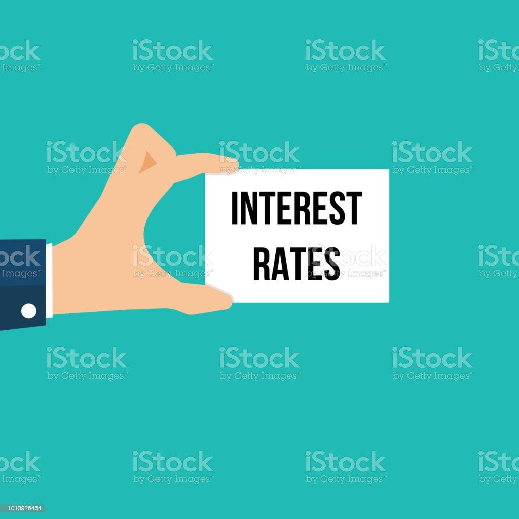 Man showing paper INTEREST RATES text vector art illustration