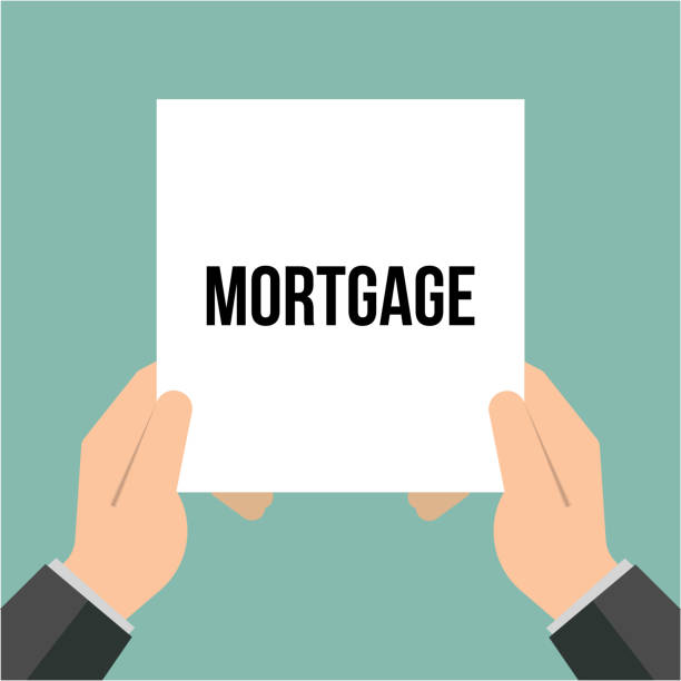 Man showing paper MORTGAGE text vector art illustration