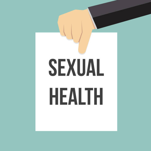 Man showing paper SEXUAL HEALTH text vector art illustration