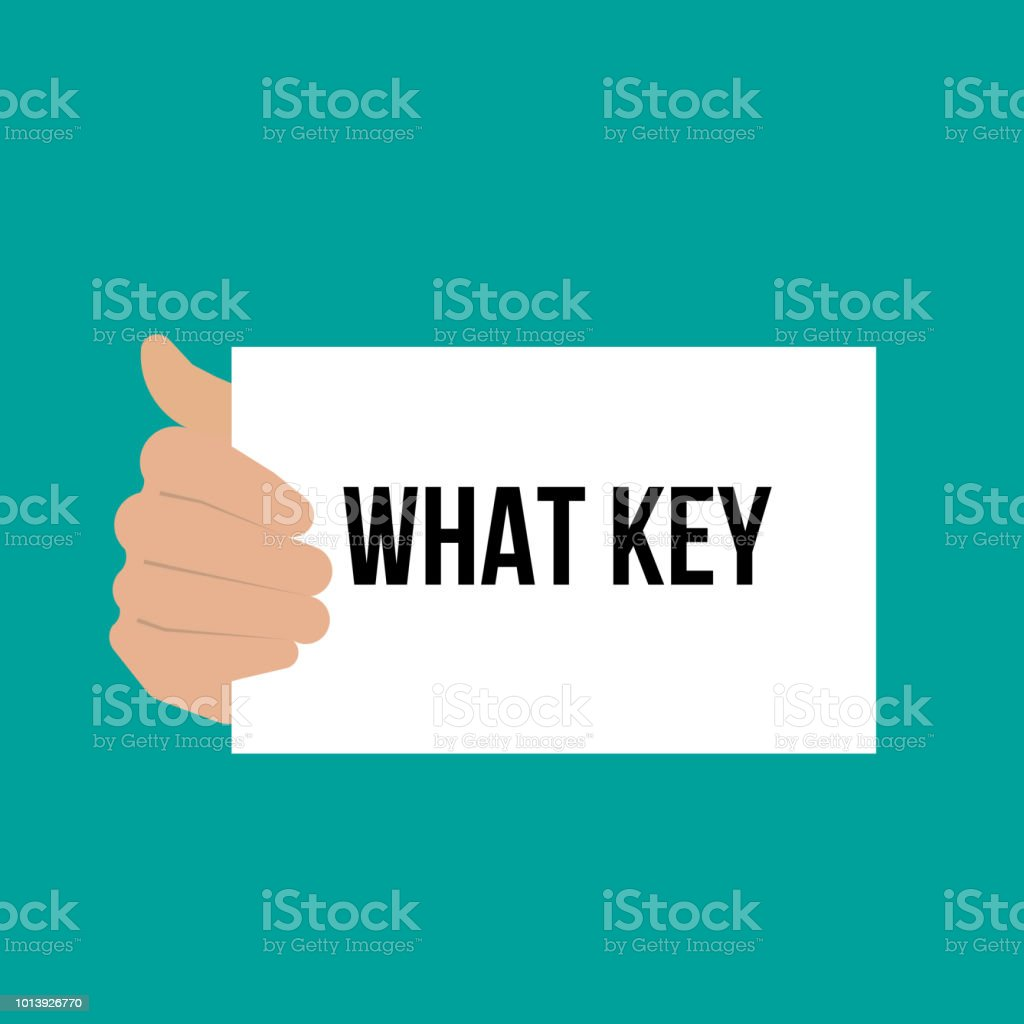 Man showing paper WHAT KEY text vector art illustration