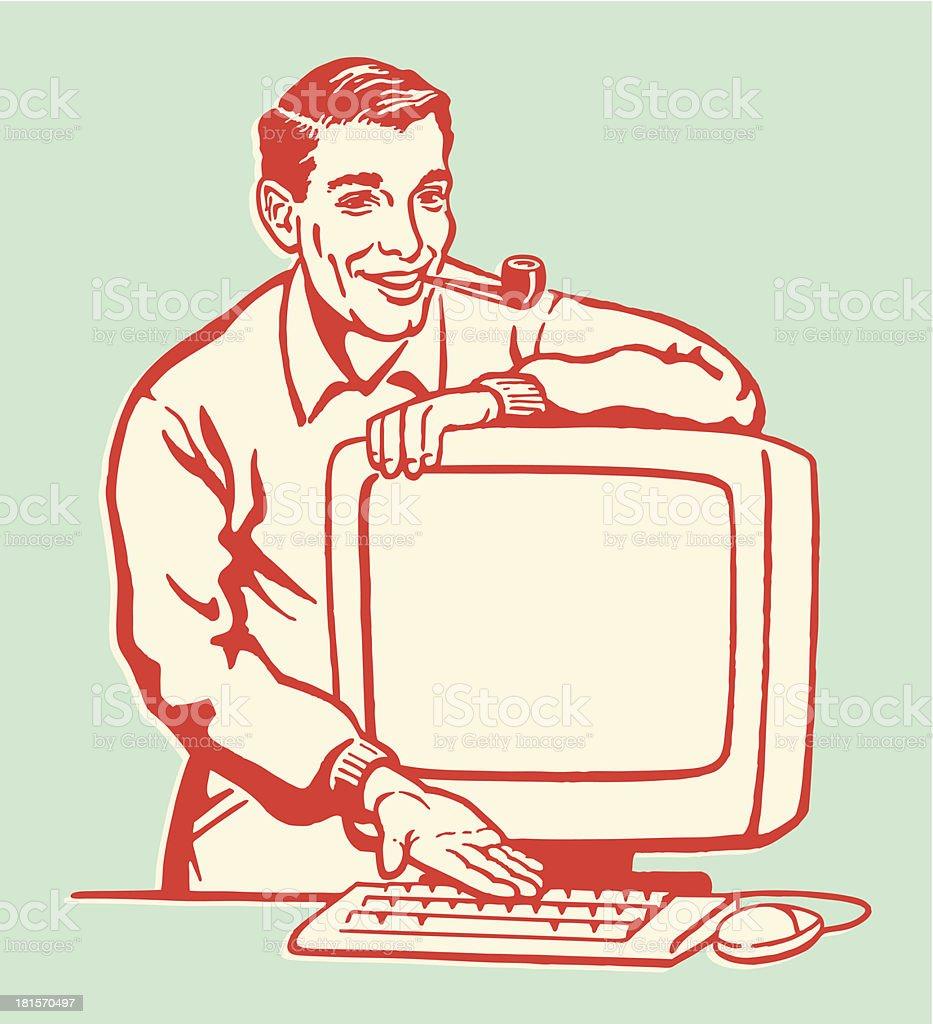 Mann mit Computer Lizenzfreies mann mit computer stock vektor art und mehr bilder von altertümlich