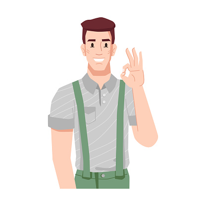 Man showing sigh of approval and enthusiasm. Personage gesturing, ok gesture. Businessman or manager isolated person. Cheerful and successful guy with smile. Cartoon character, vector in flat style