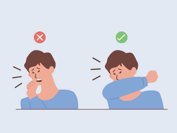 ilustrações de stock, clip art, desenhos animados e ícones de man showing the way to coughing and sneezing correctly and incorrectly when you don't wear a mask, should doing that into upper sleeve, not hands. - boca suja