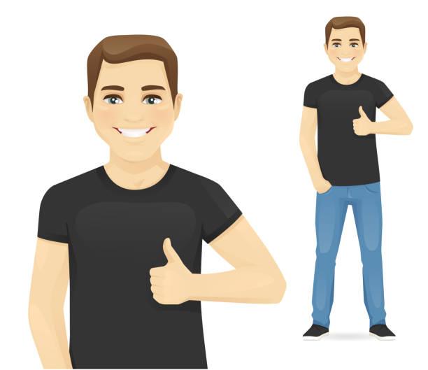 stockillustraties, clipart, cartoons en iconen met man duim opdagen - jonge mannen
