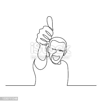 Happy smiling man with thumb up hand gesture in continuous line art drawing style. Person showing like sign minimalist black linear sketch isolated on white background. Vector illustration