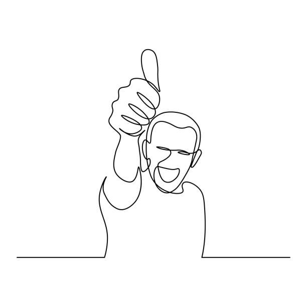 stockillustraties, clipart, cartoons en iconen met mens die duim omhoog toont - alleen één jonge man