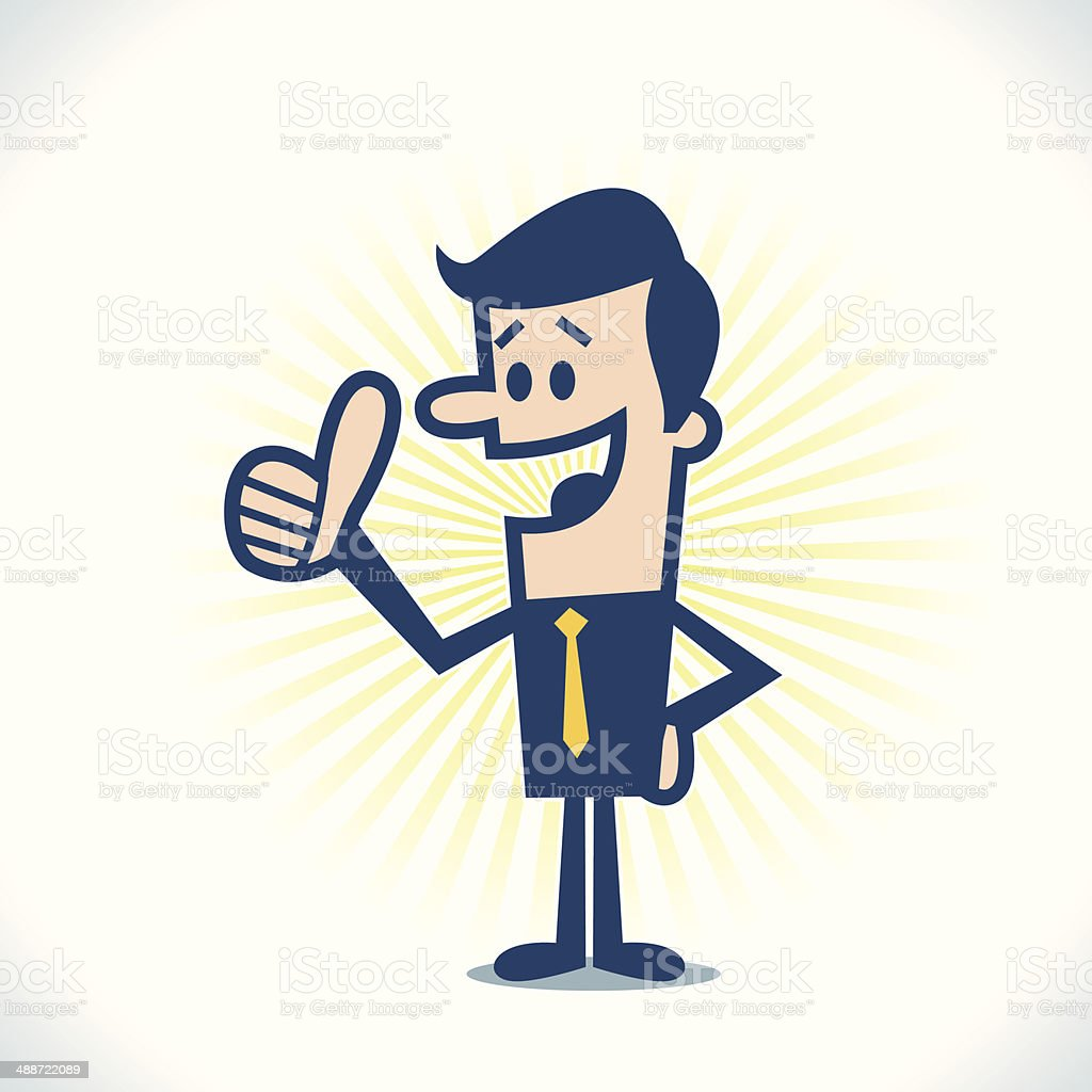 Man showing thumbs up vector art illustration