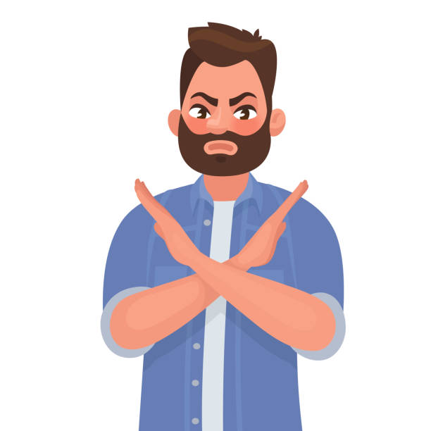 Man shows a gesture no or stop. Vector illustration in cartoon style Man shows a gesture no or stop. Vector illustration in cartoon style rejection stock illustrations