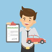 Man shows car insurance.