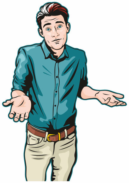 Man Shrugging vector art illustration